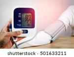 doctor holding a digital blood...   Shutterstock . vector #501633211