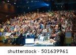 speaker giving a talk on... | Shutterstock . vector #501639961