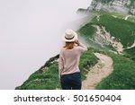 traveler or hiker in the... | Shutterstock . vector #501650404