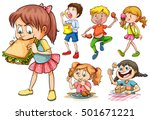 boys and girls eating different ... | Shutterstock .eps vector #501671221