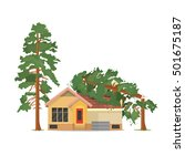 house under fallen tree. vector ... | Shutterstock .eps vector #501675187