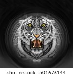 black and white tiger | Shutterstock . vector #501676144