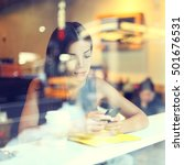 cafe city lifestyle woman on... | Shutterstock . vector #501676531