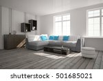 white interior design of living ... | Shutterstock . vector #501685021