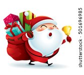 santa claus carrying sack full... | Shutterstock .eps vector #501696985