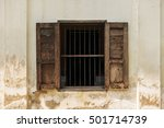 The Retro Wooden Window In The...
