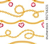 golden chains with gemstones... | Shutterstock .eps vector #501716221