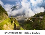 bridge in the Julian Alps, the Predil Pass, Slovenia - stock photo
