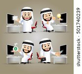 people set   arab  ... | Shutterstock .eps vector #501740239