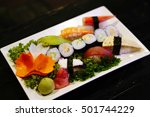 a sushi set of various kind of... | Shutterstock . vector #501744229