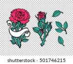 rose tattoo set. sticker  patch ... | Shutterstock .eps vector #501746215