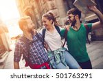 happy traveling tourists... | Shutterstock . vector #501763291