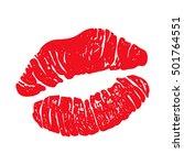 red lipstick kiss  female lips... | Shutterstock .eps vector #501764551