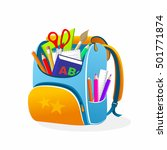 back to school orange bag... | Shutterstock . vector #501771874