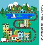 green city flat design. nature... | Shutterstock .eps vector #501772447