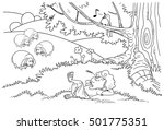 the boy lies on a lawn. peace. | Shutterstock . vector #501775351