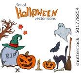 set of halloween icons. vector... | Shutterstock .eps vector #501778354