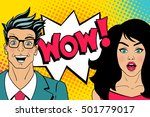 wow faces. handsome happy young ... | Shutterstock .eps vector #501779017