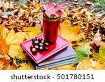 cup of tea with autumn leaves   Shutterstock . vector #501780151