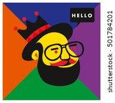 hipster men head say hello... | Shutterstock .eps vector #501784201
