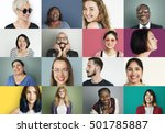 diverse people smiling... | Shutterstock . vector #501785887