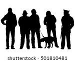 man with a dog on a leash on a... | Shutterstock . vector #501810481