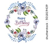 wildflower anemone flower frame ... | Shutterstock . vector #501819439