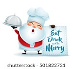 chef santa claus with a serving ... | Shutterstock .eps vector #501822721