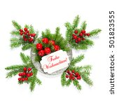 christmas tree branches with... | Shutterstock . vector #501823555