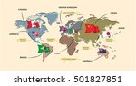 world map with famous country... | Shutterstock .eps vector #501827851