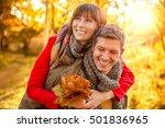 happy autumn fall couple...   Shutterstock . vector #501836965