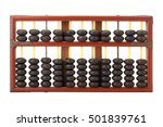 Small photo of old wooden chinese abacus isolated on white background