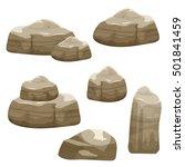cartoon brown stones set ...