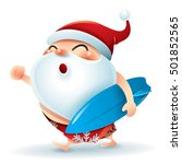 santa claus in swimsuit with a... | Shutterstock .eps vector #501852565