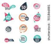 flat design sale  discount... | Shutterstock .eps vector #501866881