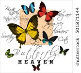 butterfly with text vintage... | Shutterstock . vector #501871144