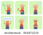 set of old farmer characters... | Shutterstock .eps vector #501872215