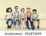 casual children cheerful cute... | Shutterstock . vector #501873409