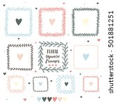 hand drawn floral square frame... | Shutterstock .eps vector #501881251