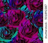 rose flowers. seamless... | Shutterstock . vector #501892387
