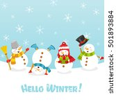 hello winter card with snowman | Shutterstock .eps vector #501893884