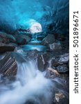 Small photo of Waterfall Inside Ice Cave, Mendenhall Glacier, Juneau, Alaska, USA