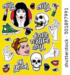 creative stickers set with... | Shutterstock .eps vector #501897991