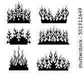 set of black tribal flames for... | Shutterstock .eps vector #501912649