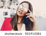 close up fashion portrait of... | Shutterstock . vector #501913381