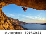 male climber on overhanging... | Shutterstock . vector #501913681