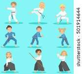 kids on martial arts training | Shutterstock .eps vector #501914644