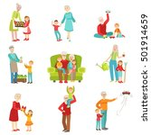 grandparents and kids having... | Shutterstock .eps vector #501914659