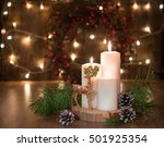 burning candles on wooden table ... | Shutterstock . vector #501925354