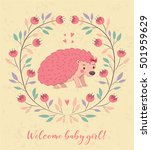 cute card with hedgehog and... | Shutterstock .eps vector #501959629